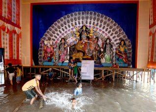 Rain in Durga Puja