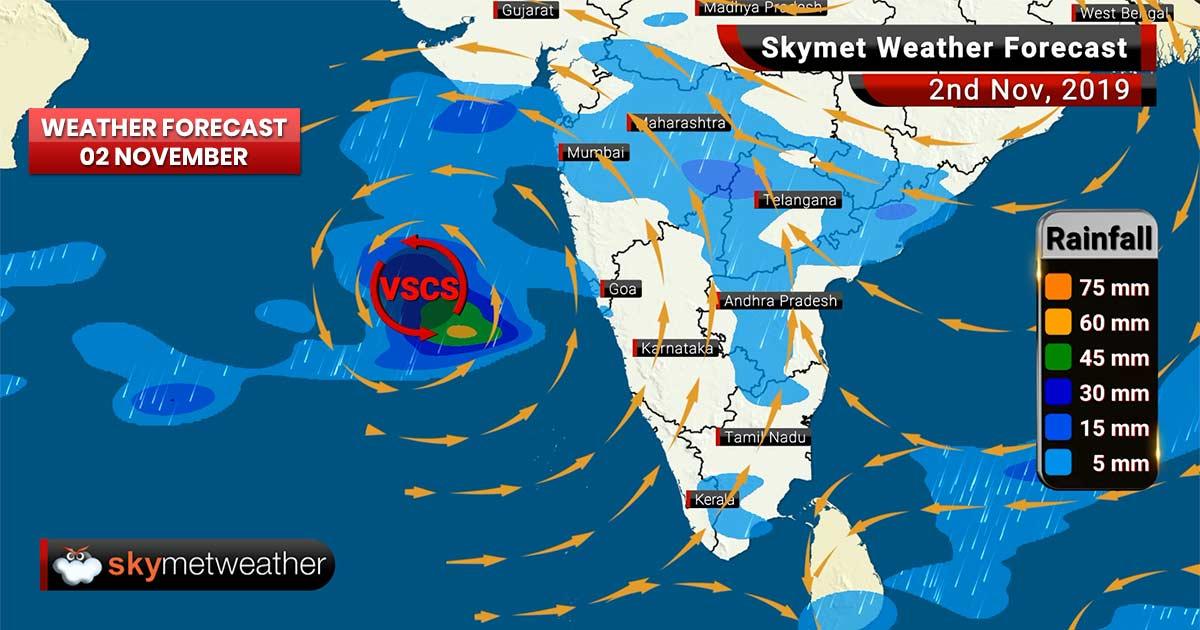 Weather Forecast Nov 2: Very Severe Cyclone Maha to lash Gujarat, no relief from Delhi Pollution