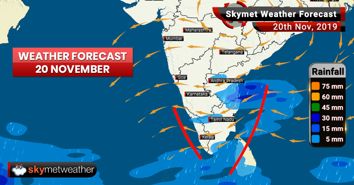 Weather Forecast Nov 20: Northeast Monsoon active, good rain likely in parts of TN, Puducherry, Kerala