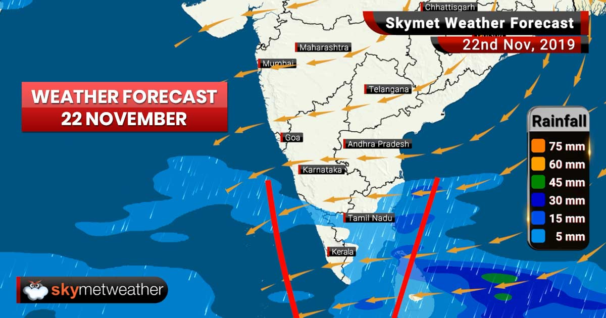 Weather Forecast Nov 22: Rains ahead for Chennai and Bengaluru, snowfall in hills