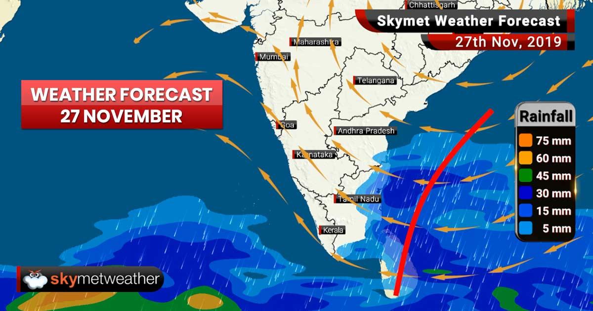 Weather Forecast Nov 27: Moderate rain in Chennai, snow in Badrinath, Manali, Kedarnath, Gulmarg, Srinagar