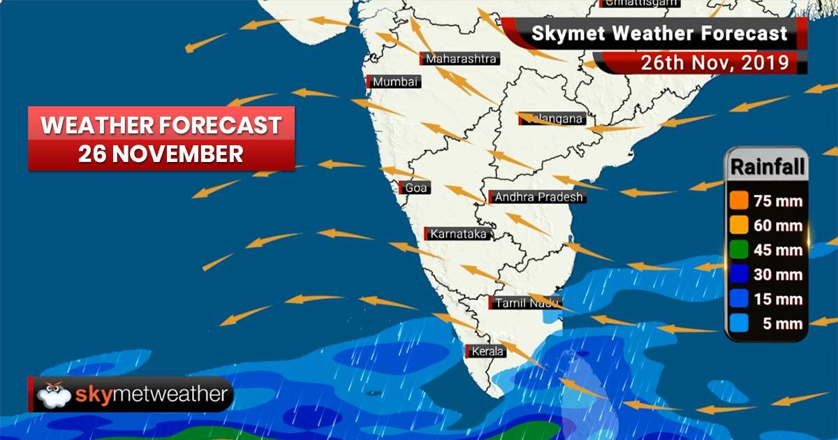 Weather Forecast Nov 26: Thunderstorm in Kashmir, Punjab, Chandigarh, Delhi, good rain in Puducherry
