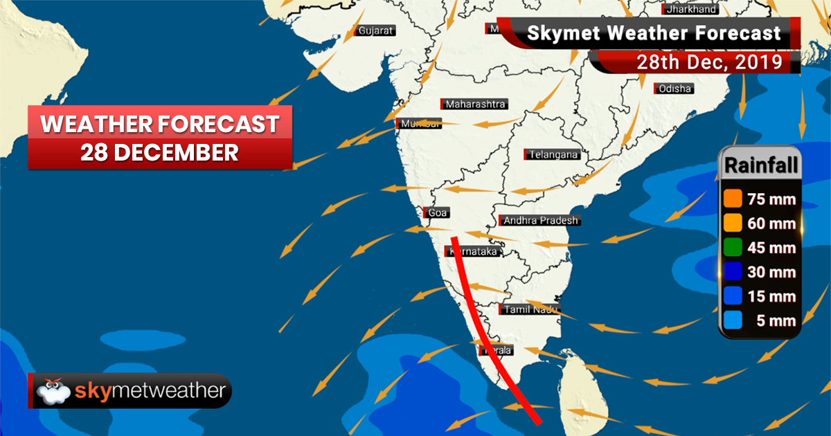 Weather Forecast Dec 28: Moderate rain likely over Kerala, Karnataka and Coastal Andhra Pradesh.