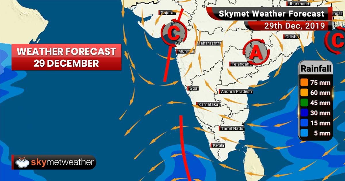 Weather Forecast Dec 29: An upper air CC lies over North Konkan coast, light rain in Central India