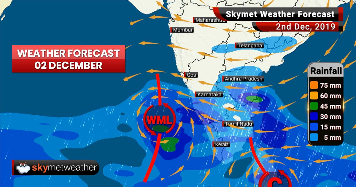 Weather Forecast Dec 2: Heavy rains in Tamil Nadu, Lakshadweep, thunderstorm in Mumbai