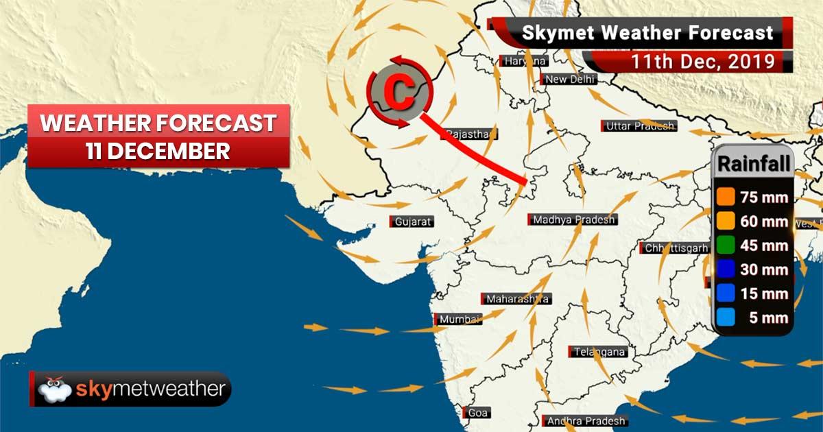 हवामान अंदाज 11 डिसेंबर: काश्मीर मध्ये पाऊस आणि बर्फवृष्टी, महाराष्ट्रात हवामान कोरडेच