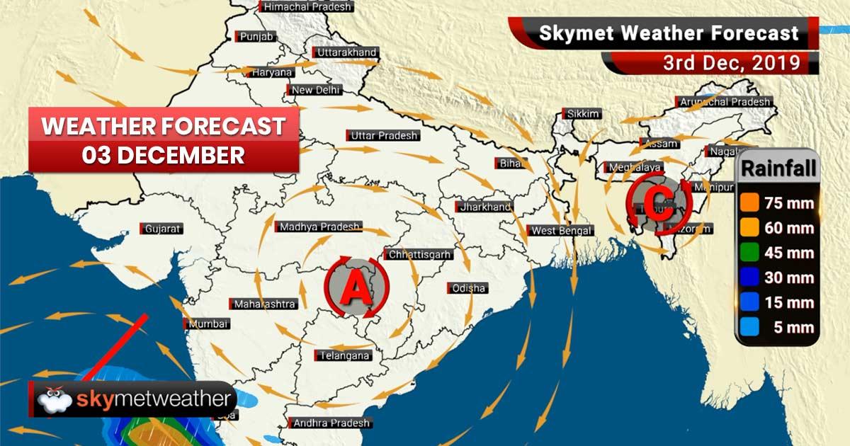 3 दिसंबर का मौसम पूर्वानुमान: तमिलनाडु, लक्षद्वीप में भारी बारिश, दिल्ली समेत उत्तर में बढ़ेगा कोहरा