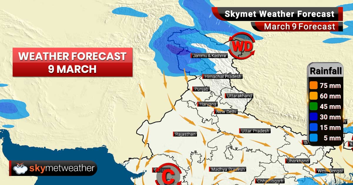 Weather Forecast for Mar 9: Rain likely in Odisha, Jammu and Kashmir, Ladakh and Vidarbha region in Maharashtra