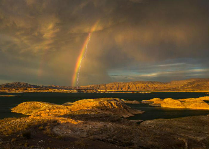 Rainbow and Lightning in Nevada
