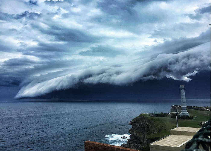 Shelf cloud or cloud tsunami at Bondi Beach, Australia