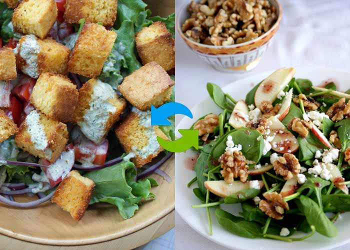 Swap Croutons with Walnuts in Salad