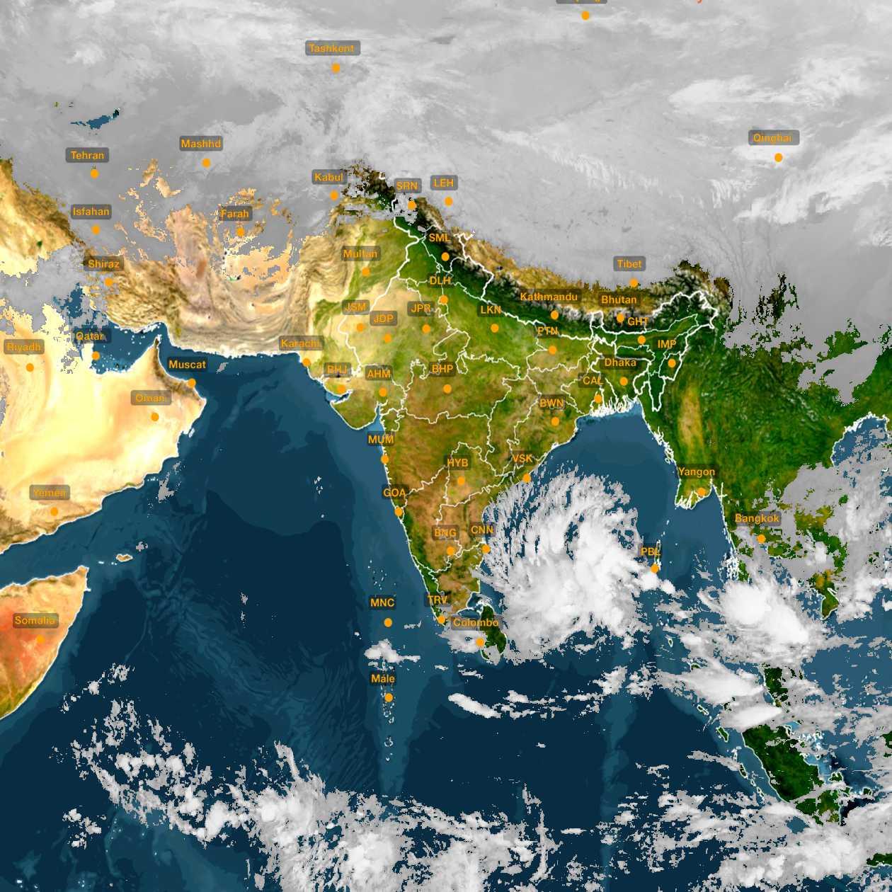<b style='padding-left:57px;'>23:00</b><br>Satellite Images of India <br>for 30 November 2020