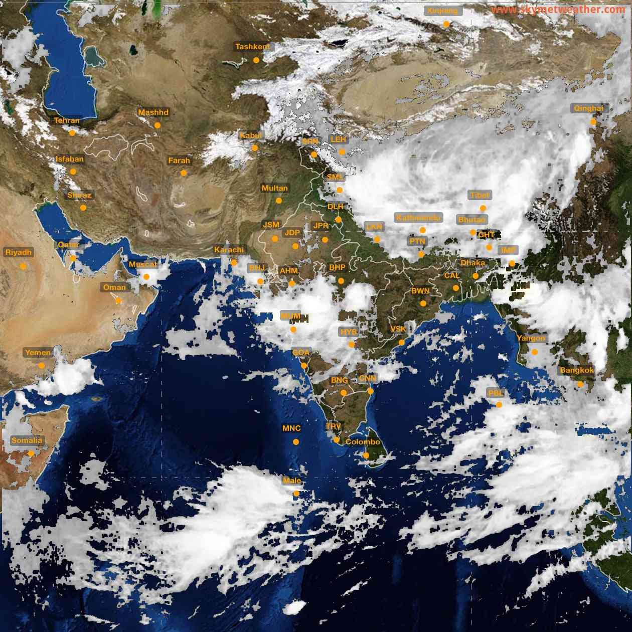 <b style='padding-left:57px;'>00:00</b><br>Satellite Images of India <br>for 25 July 2021