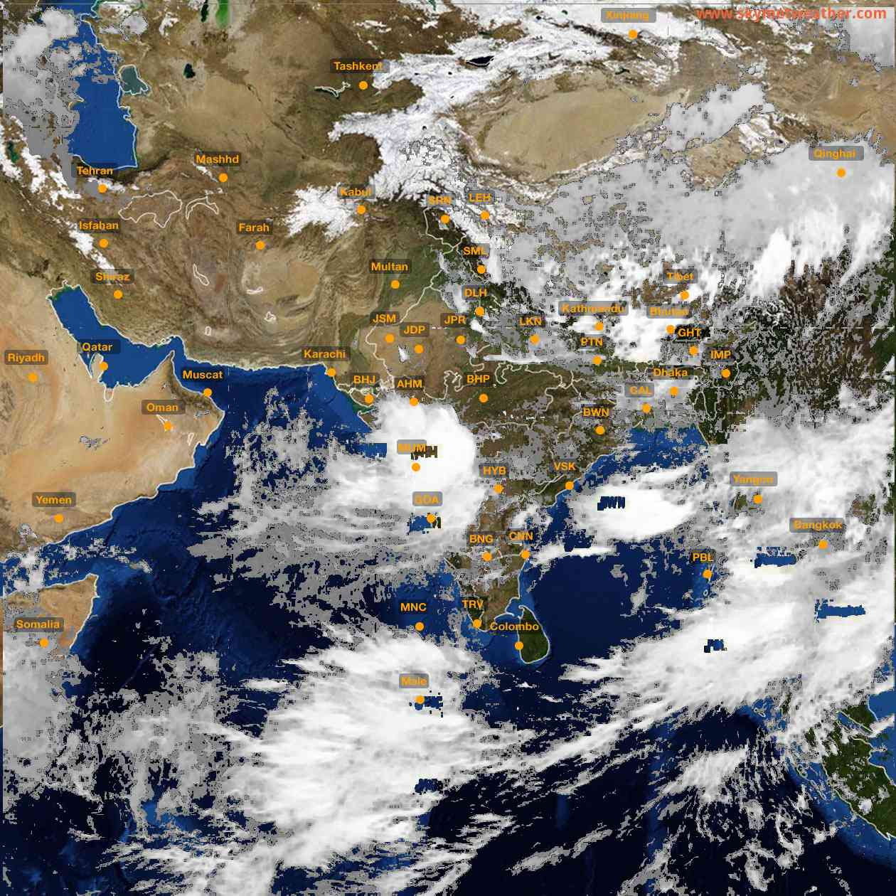 <b style='padding-left:57px;'>13:00</b><br>Satellite Images of India <br>for 25 July 2021